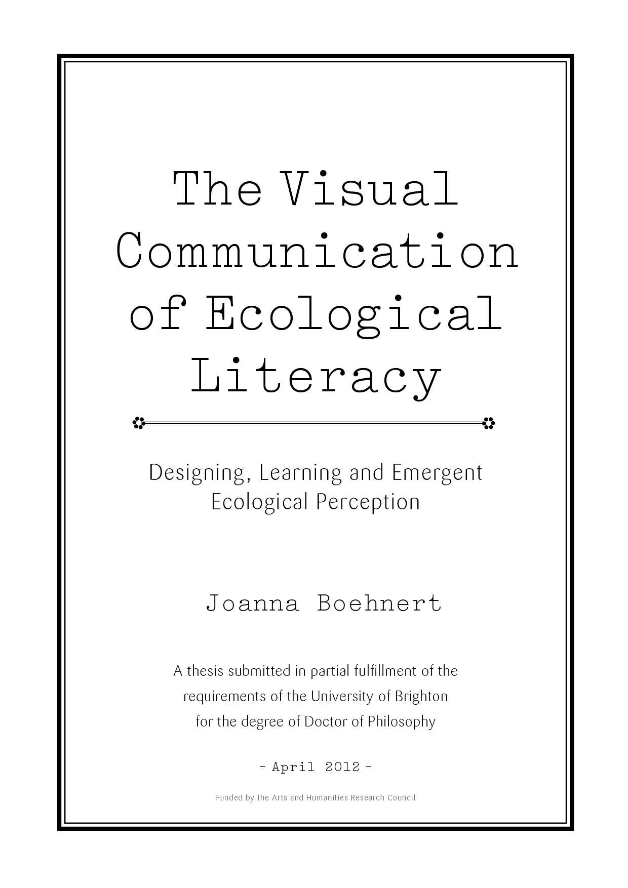 phd the visual communication of ecological literacy designing phd the visual communication of ecological literacy designing learning and emergent ecological perception vis ecology